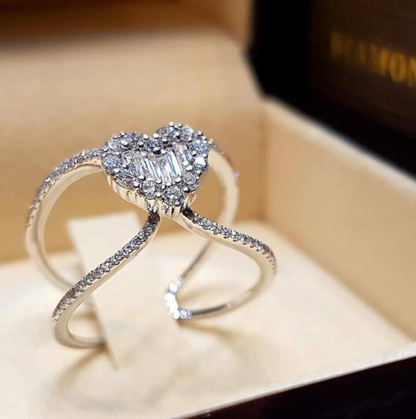 Cuore Strass Design Lega Matrimonio Anelli per la sposa Nuovi compleanni Regali Anelli Gioielli di San Valentino Regalo per Lady Lover Rings