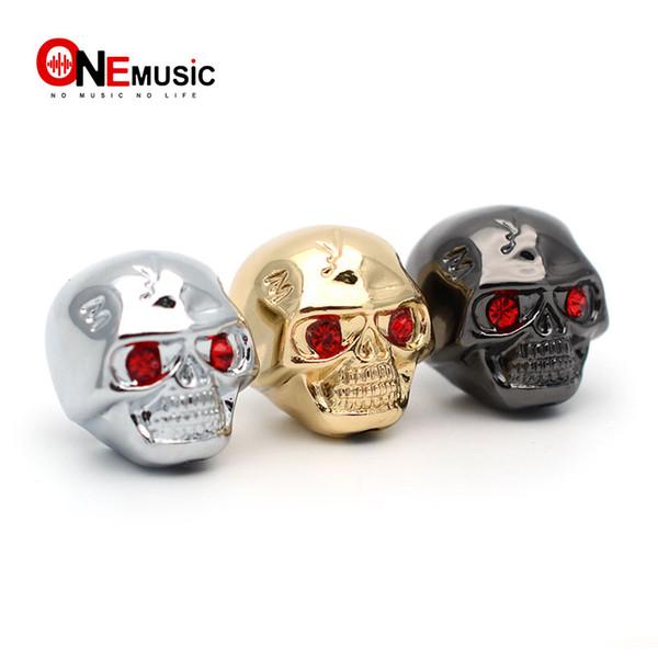 3 pezzi / lotto Cool Skull Head Tone Control manopole pulsanti per parti di chitarra elettrica nero / oro / cromato