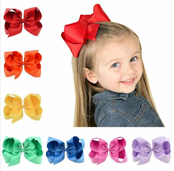 6Inch Large Hair Bows Fashion Girls'Hair Accessories Hair Clip Boutique Bows Hairpins Hair Grip Grosgrain Ribbon bows TO559