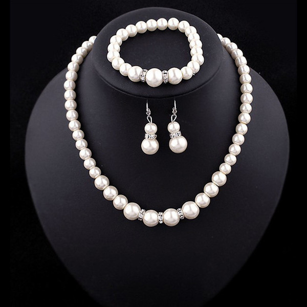Luxury Faux pearl Jewelry sets bride wedding fake Artificial pearl beads chains Necklaces bracelet Earrings For women engagement Jewelry