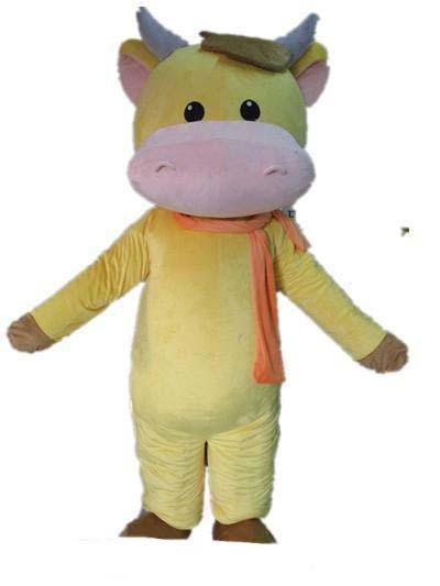 2019 High quality hot a yellow cattle mascot costume with an orange scarf for adult to wear
