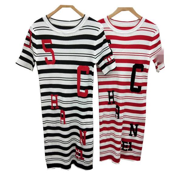 High-end custom 2019 spring and summer female jacquard digital letter striped short-sleeved dress Qu Zhu ice silk knit skirt