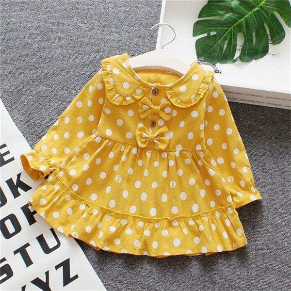 2019 3M-3Y Toddler Bébé Fille Printemps Robe Polka Dots Bowknot Robe De Mariage Anniversaire Pageant Robes Jaune Pourpre