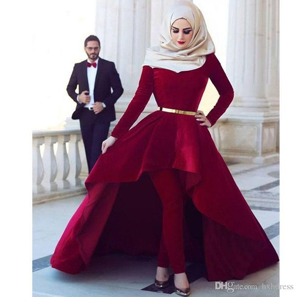 2019 New Red High Neck Long Sleeve Muslim Jumpsuit Evening Dresses High Low Satin Abric Dubai Celebrity Gowns Sweep Train Party Prom Dress