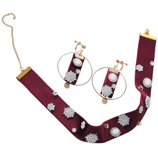 Noiva coreana Vinho De Veludo Vermelho Cetim Headband Faixa de Cabelo Colar Dual-Use Acessórios Brincos Vestido De Noiva Jóias
