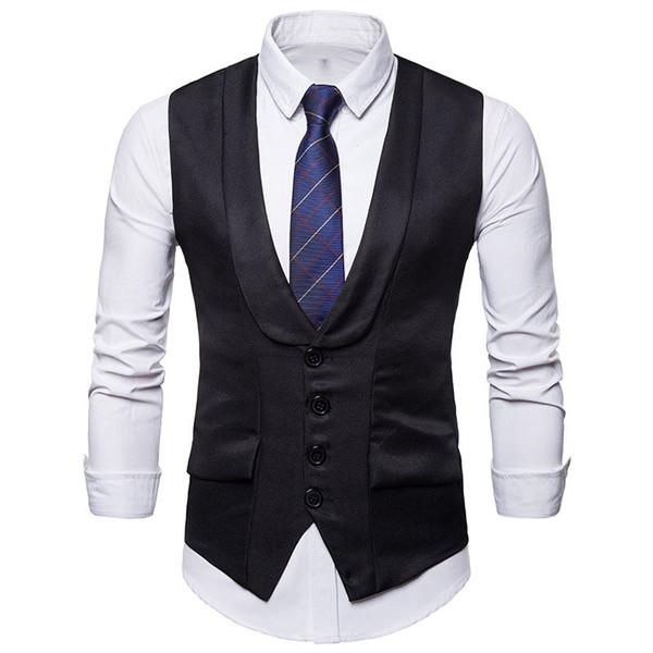 Black Single Breasted Suit Vest Men 2019 Fashion Shawl Collar Slim Fit Vest Waistcoat Men Wedding Groom Dress Male Chalecos