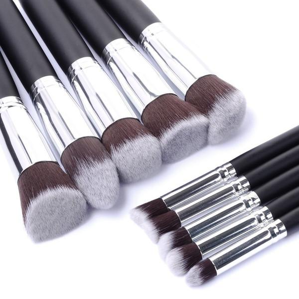 Nouveau Arriver 10 pcs Synthétique Kabuki Maquillage Brush Set Cosmétiques Fondation Mélanger Blush Outil De Maquillage