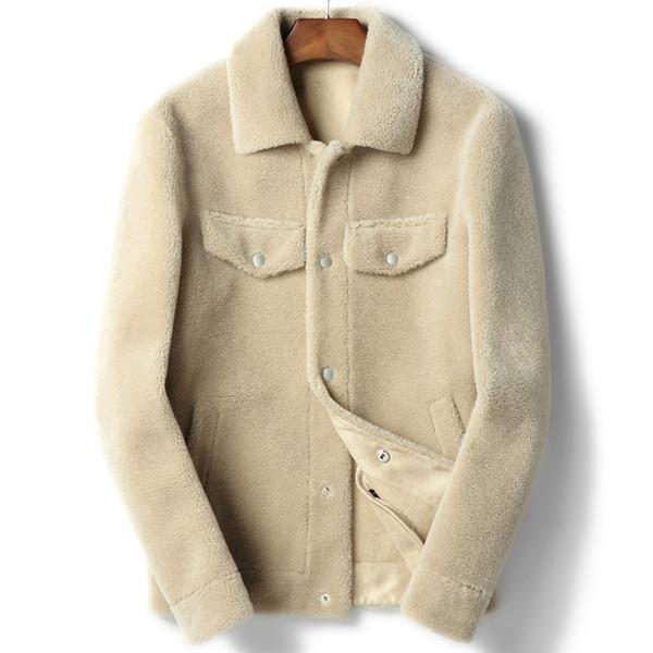 100% Wool Coat Real Sheep Shearling Fur Coat Autumn Winter Jacket Men Lamb Fur Short Coats Leather Jackets Chaqueta Hombre Y1845