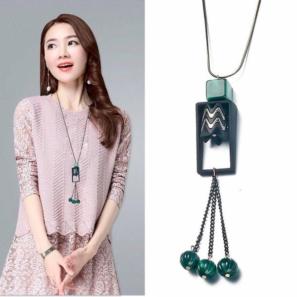 Meyfflin Acrylic Long Necklaces for Women 2019 Fashion Geometric Beads Tassel Sweater Chain Necklaces & Pendants Jewelry Koyle