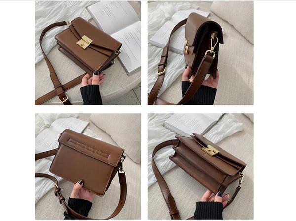 Primavera 2019 nuova moda borsa piccola borsa donne retrò colore urto piccola borsa quadrata monospalla borsa a tracolla con fibbia della serratura