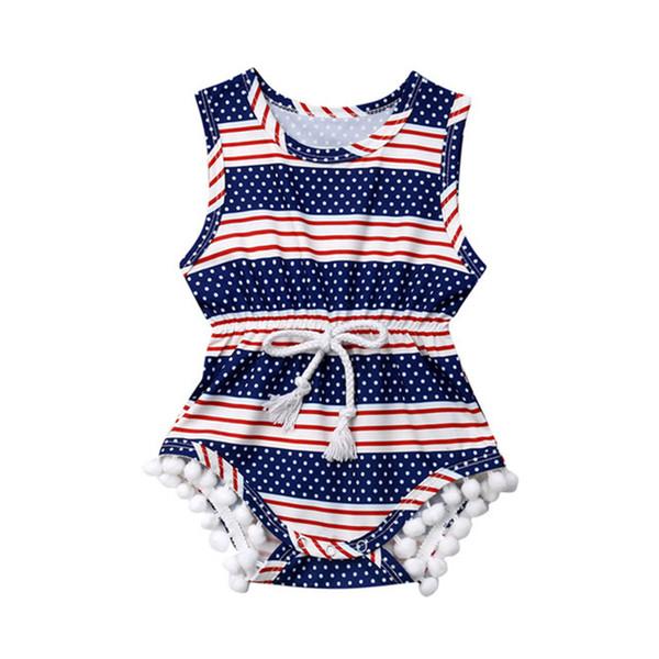 Bébé barboteuses bébé fille vêtements drapeau national américain imprimer combinaison avec taille dentelle conception fête de l'indépendance