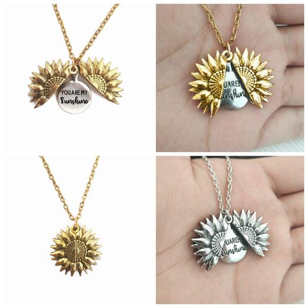 El diseño único Usted es mi sol Locket del collar del girasol grabada collar puede abrir colgante de collar de regalo ZZA1317