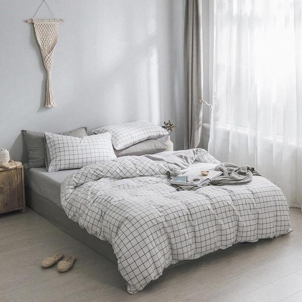 Baumwolle Quilt Set 4PCS Qualität Bettwäsche Quilts gesteppte Tagesdecke Bettdecke King Queen Size Bettdecke Set Champagner blau rosa