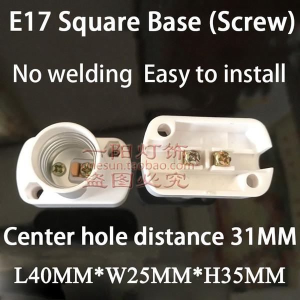 E17 White Square Base (Screw)