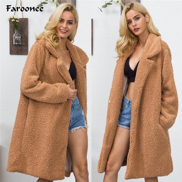 Manteau d'hiver Lambwool Trench en peluche de femmes Manteaux à manches longues Épaissir chaud élégant Camel-vêtement long en fausse fourrure Veste