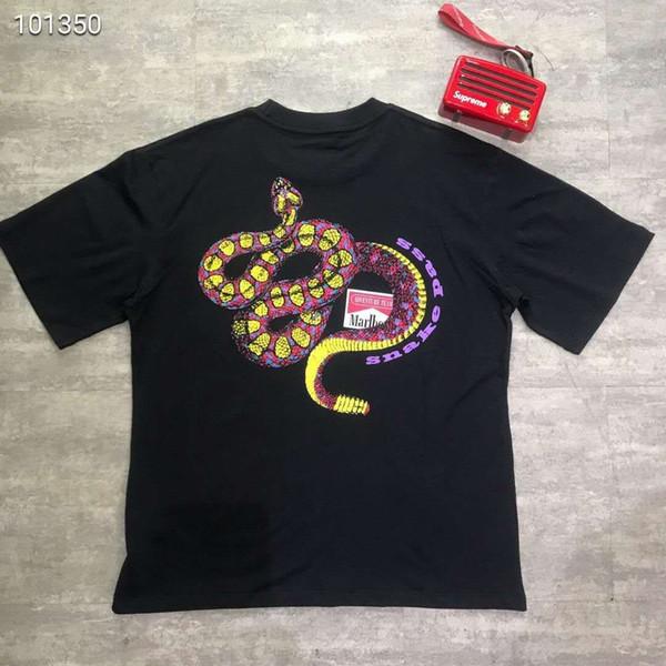 ROCKY Mar Erkek Siyah Yılan Baskılı Tişörtleri Yaz Tasarımcı Lüks Tees Kısa Kollu Tops
