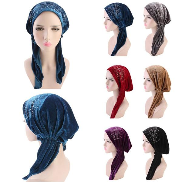 Muslim Women Velvet Long Scarf Elastic Islamic Turban Head Wraps Hijab Shawls Chemo Caps Sequins Long Tail Headscarf Hair Loss
