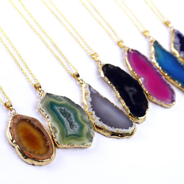 best selling Natural Stone Pendant Necklace Onyx Charms Pendants Multicolor Slice Irregular Natural Agat Crystal Stone Quartz Pendant DIY Fit Necklaces