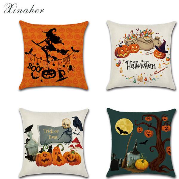 Cartoon Halloween Digitaldruck Kreative Heimat Kürbis Hexe Dekokissen Auto Dekoration Dekorative Kissenbezug kissenbezug