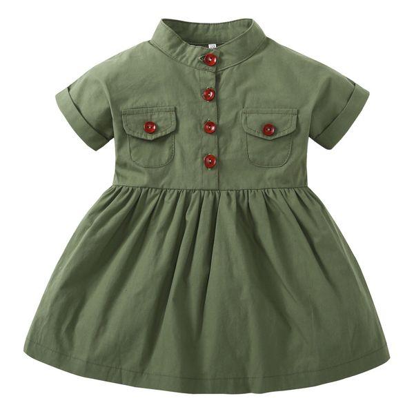 2019 Explosion models European and American children's clothing summer short-sleeved children's skirt cotton army green girls dress children