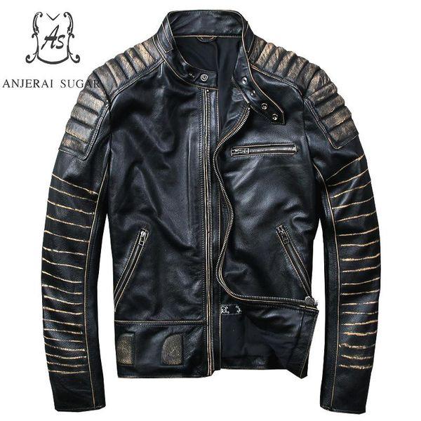 Artı Boyutu gerçek hakiki inek deri ceket erkekler siyah bağbozumu standı Yaka fermuar M-4XL Moto Biker Motosiklet bombacı ceketler coat
