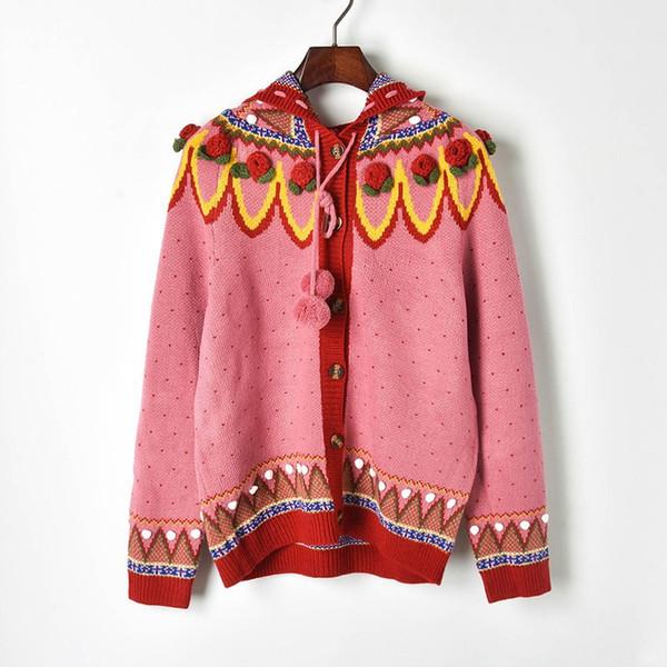 Nuovo maglione Ladies Nuovo pesante tridimensionale Hook mano Fiore Rosso Natale Spesso Ago girocollo Maglione cardigan SZIE S-L
