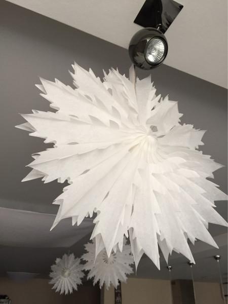 40cm 50cm Tissue Paper Snowflake Fans Party Decorations Large Cut Out Paper Fans Hanging Christmas Decoration For Party Ornament For Christmas
