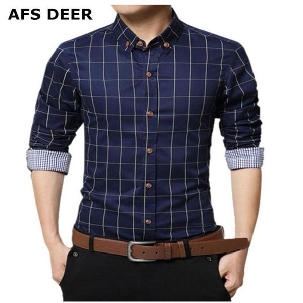 Alion Mens Long Sleeve Solid Checked Button Down Shirts Cotton Casual Shirts