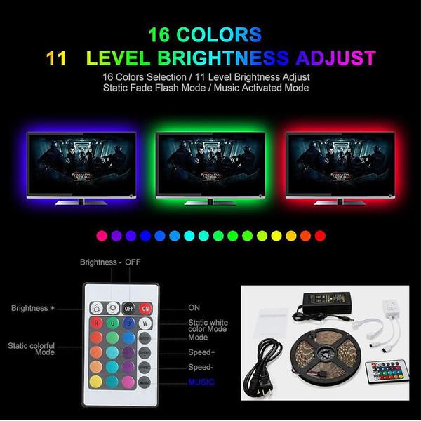 Festival Decor LED Strip Light 5M IP65 300 LED Light Musica impermeabile Leds Tape Ribbon flessibile Mini Controller IR Set adattatore BC BH1156