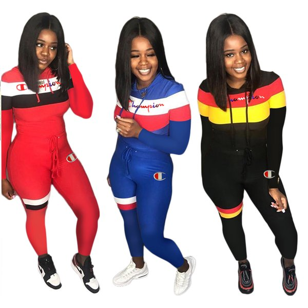 Champion Letter Designer Tracksuits 2 Piece Women Long Sleeve Outfits Heaps Collar Hoodies with Track Pants Leggings Sports Suit Cloth
