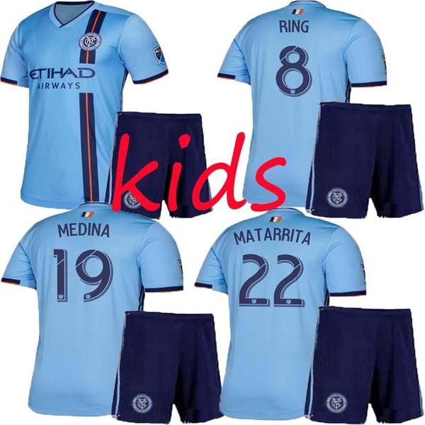 KIDS 2019 2020 NEW YORK CITY FC RING MORALEZ MEDINA MATARRITA MITRITA soccer jersey uniform kits boys Child football shirts kit