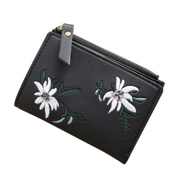 Femmes broderie Floral Zipper Short Portefeuille Porte-monnaie Porte-monnaie Porte-photo Titulaire de la Carte Carteira Feminina