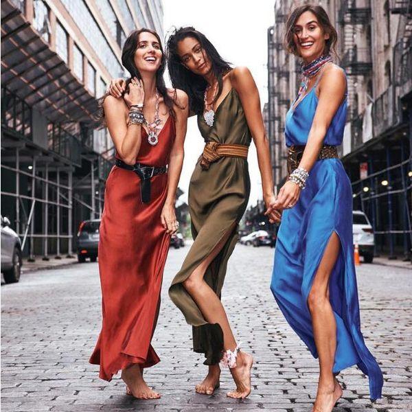 Sexy red satin satin silky fabrics amazon's new dress slit halter back strapless evening dress party dress for women