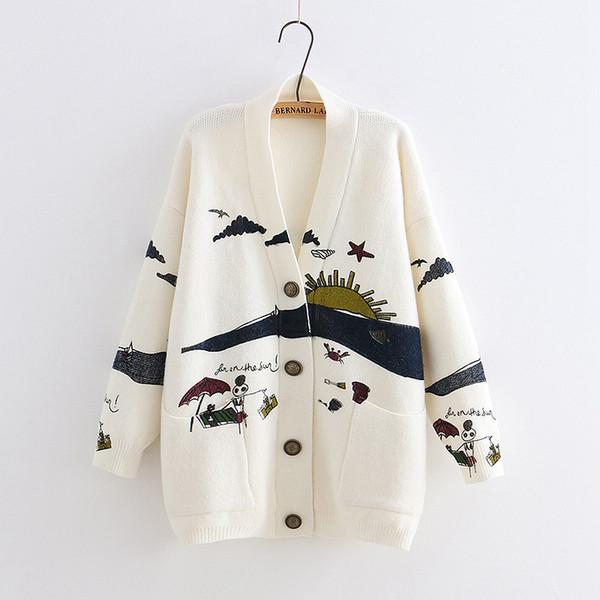 YoYiKamomo Spring Woman Sweater Knitting 2019 Nuevo japonés Mori Girl V-cuello Jacquard Cardigan Sweater Invierno