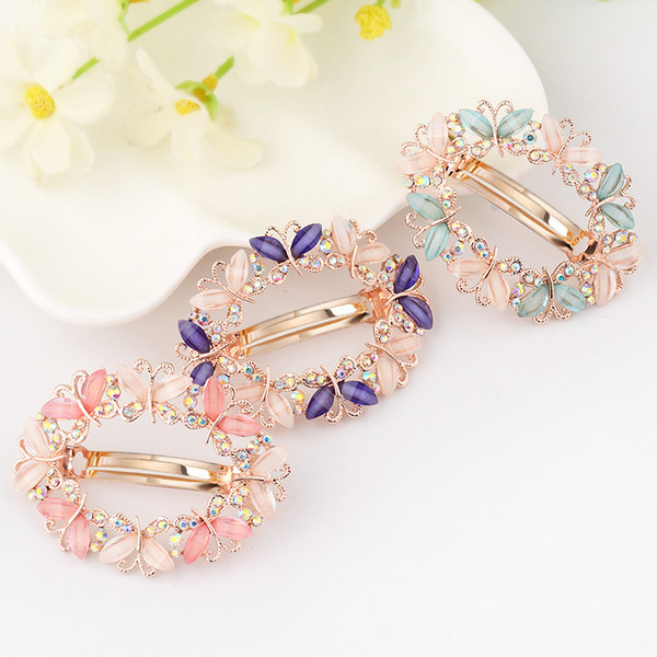 1PC Fashion Girls Barrette Butterfly Hairpins Crystal Rhinestone Flower Women Hair Clip Barretes Hair Accessories Wedding Hair Jewelry