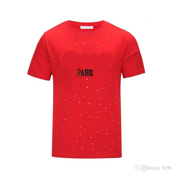 Marke design 18SS Sommer Straße tragen Europa Paris Fan Made Mode Männer Hohe Qualität Gebrochene Loch Baumwolle T-shirt Lässig Frauen T-shirt