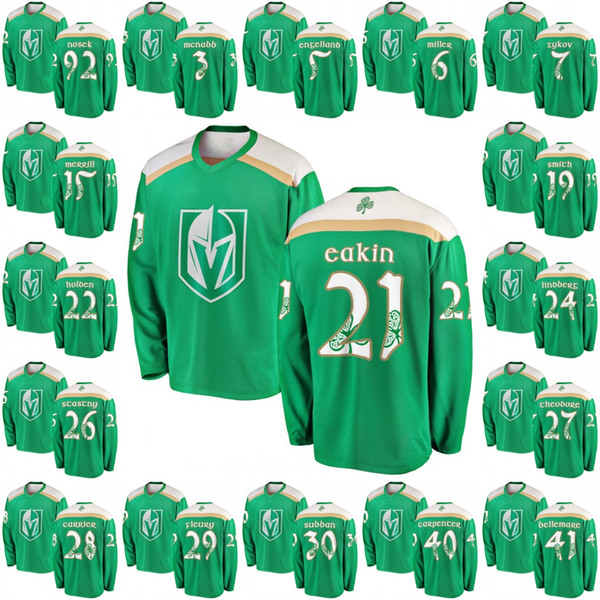 Green 2019 St. Patrick's Day Jersey 21 Cody Eakin 40 Ryan Carpenter 22 Nick Holden 28 William Carrier Vegas Golden Knights Hokcey Jerseys