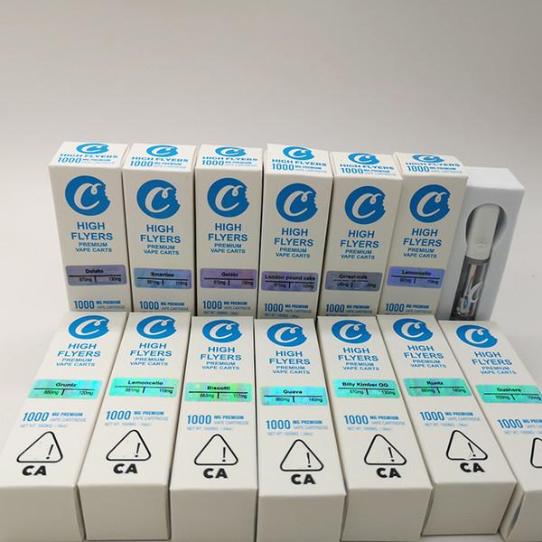 Çerezler Yüksek Flyers Vape Kartuşları 1 ml 0.8 ml seramik kartuşları hologram etiket kağıt ambalaj boş vape kalem yağ atomizörler 510 buharlaştırıcı