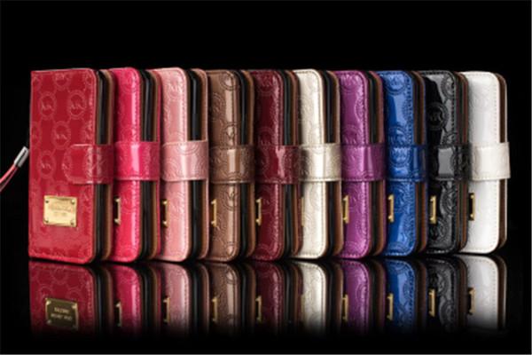 Cartera de lujo Flip Funda Brillante Letra PU de cuero Ranura para tarjeta Bolsas de bolsillo con funda de cordón Cubierta para iphone xs max xr x 8 7 plus 6 6s plus