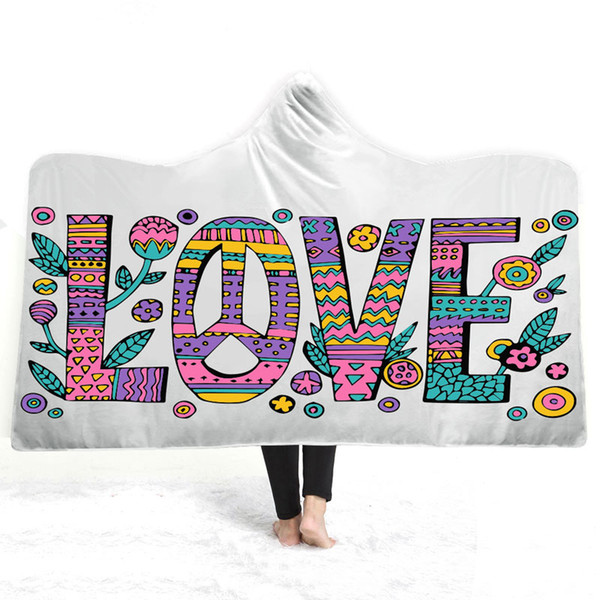 love words 3d printed plush hooded blanket for adults kid winter warm wearable fleece custom throw blankets