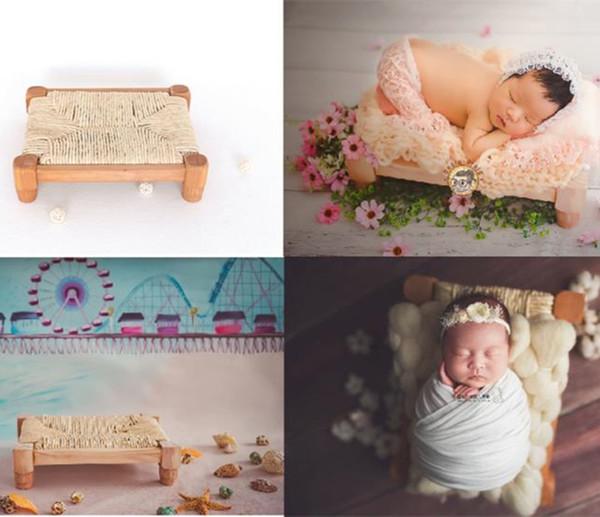Recém-nascidos PROP estilo vintage mini tamanho cama recém-nascida adereços fotografia de madeira mancha