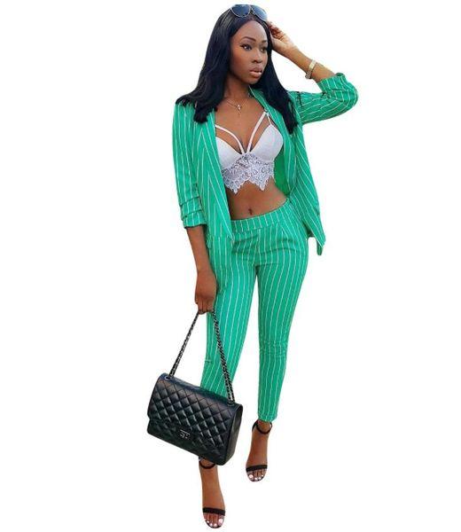 New 2019 Two Piece Sets Formal suit for Women Casual Business Suitspants Work Wear Sets Office Lady Uniform Elegant Stripe Two Piece Pants