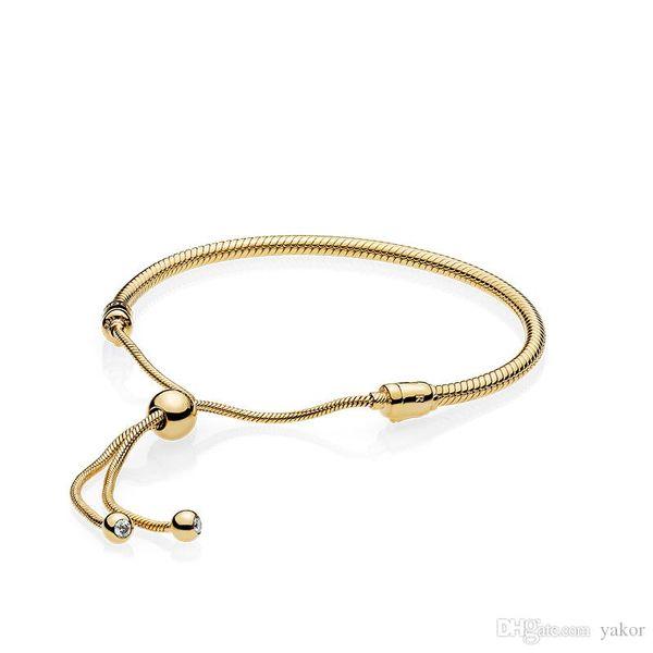 18K Yellow Gold Snake Chain Bracelet Set Original Box for Pandora 925 Silver Moments Adjustable size Bracelets Women Wedding Jewelry