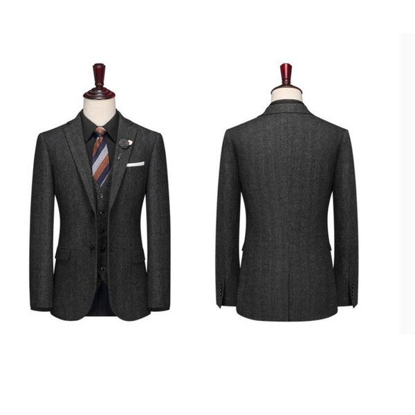 2019 Black Groom Tuxedos Wedding Suits Groomsmen Best Man For Young Man Prom Suits Custom made (Jacket+Vest+Tie)