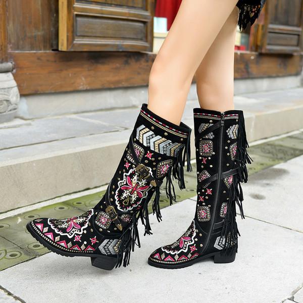 US4-11 Femmes bout pointu en cuir véritable genou Cuissardes Stilettos Broderie Rétro Glands florales Chaussures Boucle de ceinture Taille Plus