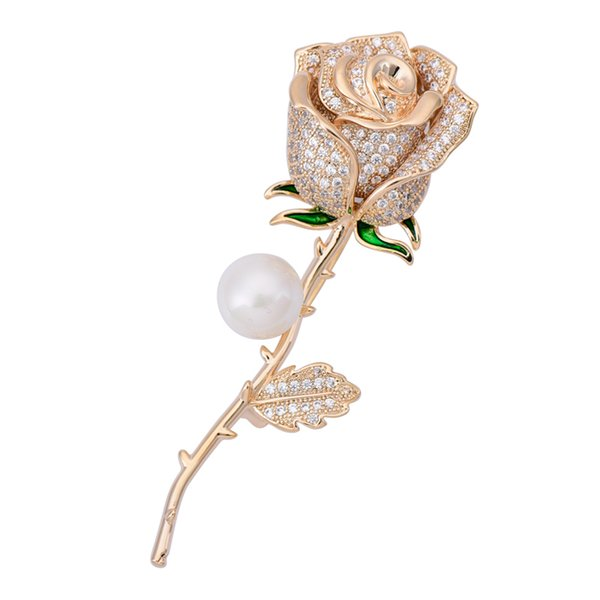 OBN Fashion CZ Silver Tone Micro Paved Floral Brooch Long Stem Green Leaves Ornate Rose Flower Pins for Women Jewelry