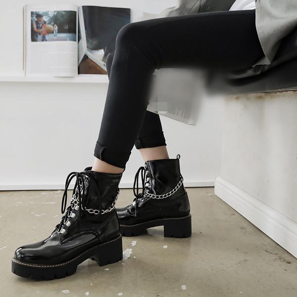 YMECHIC Gothique Punk À Lacets Bottes Chaînes Cross Strap Block Talon Haut Femmes Chaussures Noir Plateforme Goth Rock Chaussures De Combat