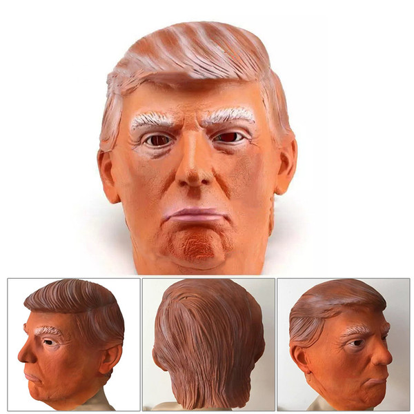 Donald Trump Costume Mask Halloween Realistic Latex Masquerade Carnival Mask Hood Celebrity Face COS Star Imitation Show