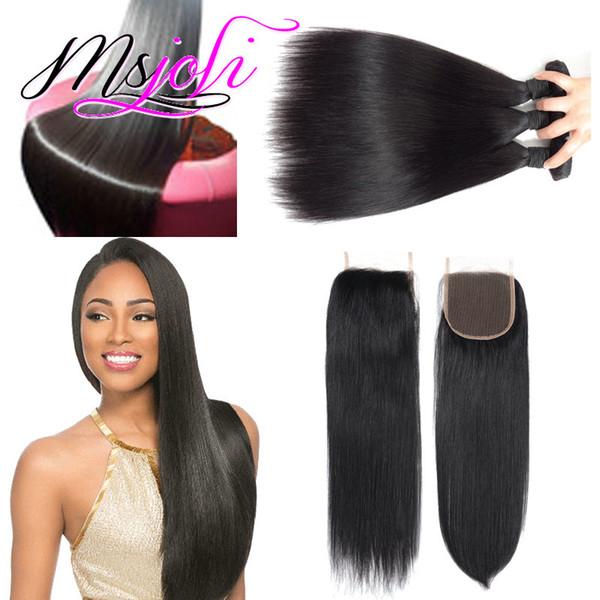 Remy Hair Weaving Extension Art Rohes unverarbeitetes indisches Haar, gerade Haare, drei Bundles mit Verschluss