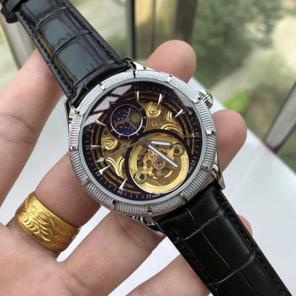 Mode Herren Luxus Uhr 42mm Leder Stahlband Optional Mondphase Automatische Bewegung Mechnical Herren Designer Luxus Armbanduhr Uhr